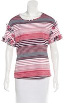 Saloni Ruffle-Trimmed Striped Top