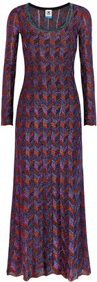M Missoni Chevron metallic-knit maxi dress