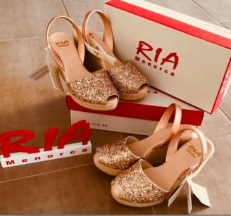 riA Sandal - 39 / Peach Glitzer/ metallic / Leder
