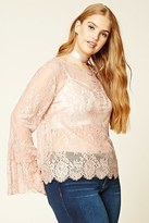 Forever 21 FOREVER 21+ Plus Size Lace Bell-Sleeve Top