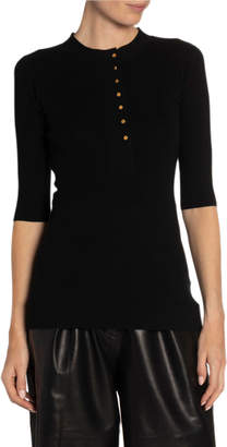 Proenza Schouler Silk Cashmere Henley Sweater