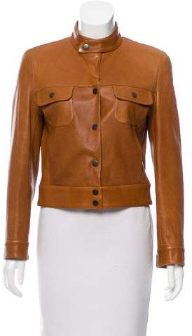 Giorgio Armani Stand Collar Leather Jacket