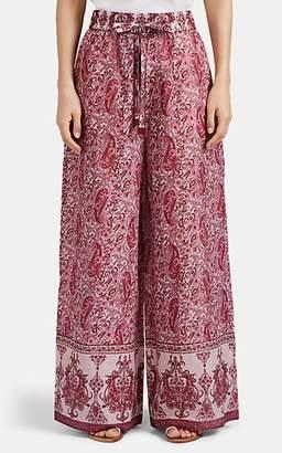 Zimmermann Women's Amari Paisley Cotton Wide-Leg Drawstring Pants - Pink