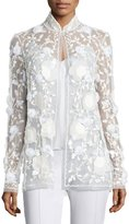 Naeem Khan Sequined Mesh Evening Jacket, White