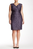 Adrianna Papell 41905221 V-Neck Lace Ribbon Cocktail Dress