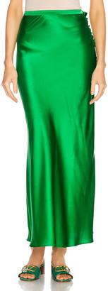 BERNADETTE Florence Silk Satin Skirt in Emerald | FWRD