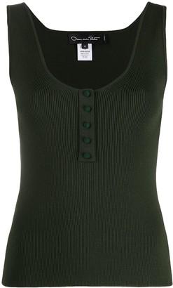 Oscar de la Renta Ribbed Buttoned Vest Top