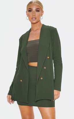 PrettyLittleThing Khaki Oversized Button Detail Blazer