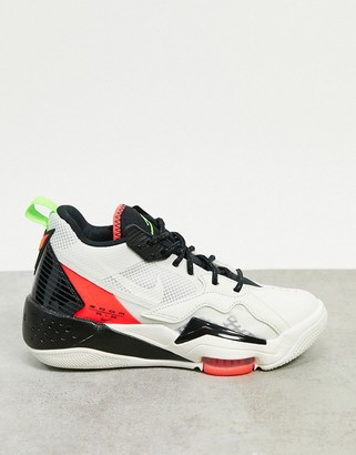 Jordan Nike Zoom 92 white red and green trainers