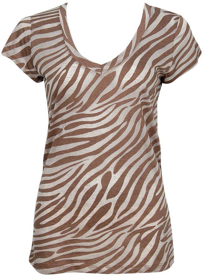 Forever 21 Zebra V-Neck Top