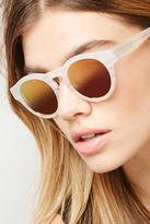 Forever 21 FOREVER 21+ Sicky Eyewear Matte Ivory Mirrored Sunglasses