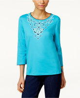 Alfred Dunner Petite Embroidered Scroll Top
