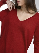 White + Warren Cashmere Pointelle Detail V Neck