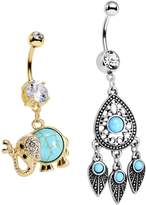 Body Candy Stainless Steel Southwestern Blue Accent Elephant and Dreamcatcher Dangle Belly Ring Set