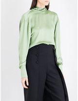 Valentino Open cowl-back silk-charmeuse top