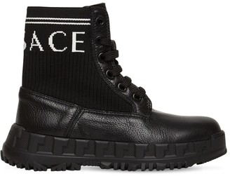 Versace Leather & Knit Sock Boots