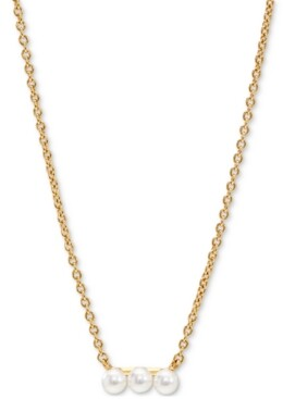 "AVA NADRI 18k Gold-Plated Imitation Pearl Trio Bar Statement Necklace, 16"" + 2"" extender"