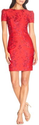 Dress the Population Joyce Floral Embroidered Body-Con Minidress
