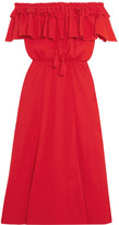 J.Crew Poppy Off-the-shoulder Ruffled Cotton And Linen-blend Dress - Red