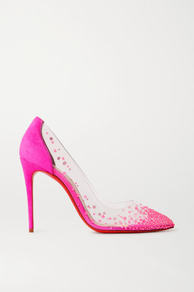 Christian Louboutin Degrastrass 105 Swarovski Crystal-embellished Pvc And Suede Pumps - Fuchsia