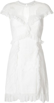 Three floor Ruffle-Trimmed Lace Dress
