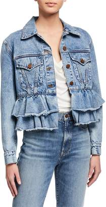 Alice + Olivia JEANS Ruffle Hem Denim Jacket
