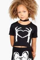 boohoo Girls Skeleton Heart Crop