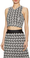ABS by Allen Schwartz Floral Embroidered Cross Back Crop Top
