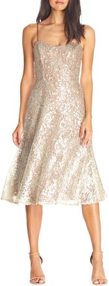 Dress the Population Antonia Sequin Lace Fit & Flare Midi Dress