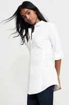 Dynamite Button-Up Blouse With Side Lace Up