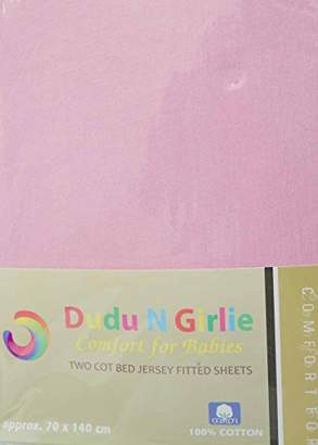 Dudu N Girlie 100 Percent Cotton Cot Bed Fitted Sheets, 70 cm x 140 cm, 2-Piece, Cream/Yellow