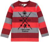Petit Lem Red & Gray Stripe 'I Rule the Castle' Long-Sleeve Top - Toddler & Boys