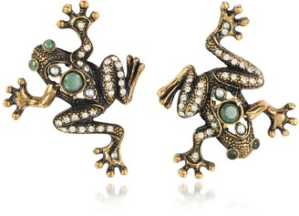 Alcozer & J Frog Earrings w/Crystals