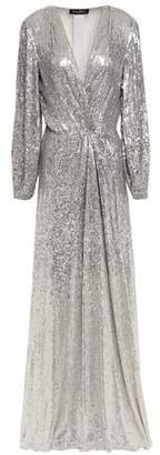 Jenny Packham Wrap-effect Sequined Silk Gown