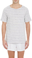 Hanro Men's Striped T-Shirt-WHITE, GREY, LIGHT BLUE