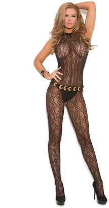 Elegant Moments Women's Swirl Lace Halter Bodystocking with Open Crotch