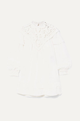 Isabel Marant Galia Lattice-trimmed Linen Mini Dress - White