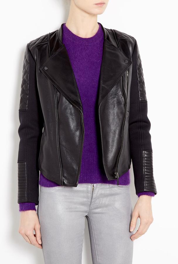 Leon Francis Roark Leather And Neoprene Biker Jacket