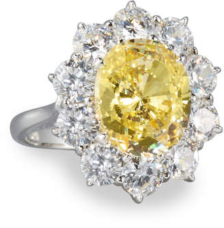 FANTASIA Oval Canary & Clear CZ Crystal Flower Ring, Size 7