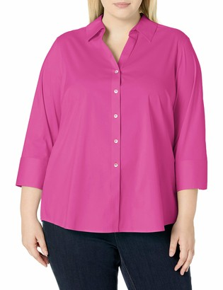 Foxcroft Women's Plus Size Mary Non-Iron Stretch 3/4 SLV. Shirt