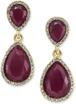 INC International Concepts Gold-Tone Merlot Stone and Pavé Drop Earrings, Only at Macy's