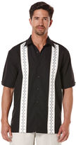 Cubavera Big & Tall Short Sleeve Texture Tri-Color Embroidered Panel