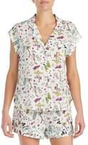 Betsey Johnson Two-Piece Satin-Trim Pajama Set