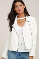 BB Dakota Blossom White Vegan Leather Moto Jacket