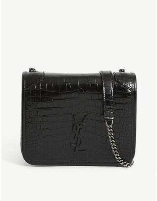 Saint Laurent Niki croc-embossed leather wallet-on-chain