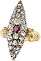 One Kings Lane Vintage Diamond & Ruby Navette Ring