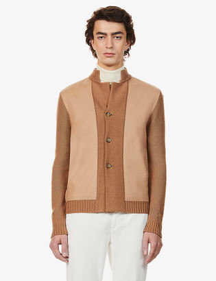 Eleventy Contrast-panel wool-blend cardigan