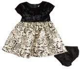 Us Angels Velvet & Floral Jacquard Dress