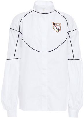Stella Jean Appliqued Cotton-poplin Shirt