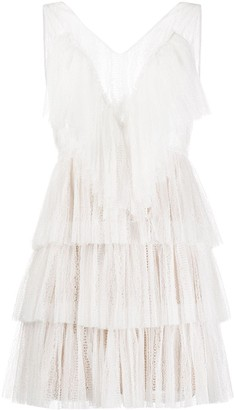 VIVETTA Sleeveless Lace Tulle Tiered Dress